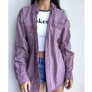FADED GLORY 90's oversized denim jacket blouse L